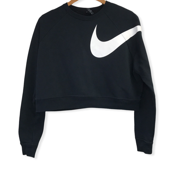 Nike Black White Swoosh Logo Cropped Sweater